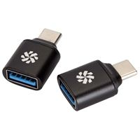 Kanex USB Type-C Male to USB Type-A Female Adapter (2 Pack) - Black