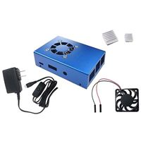 Micro Connectors Aluminum Raspberry Pi 3 Model B/B Case with Fan - Blue