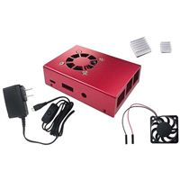 Micro Connectors Aluminum Raspberry Pi 3 Model B/B Case with Fan - Red