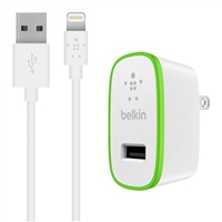 Belkin BOOSTUP 2.4 A @ 5 VDC USB-A Wall Charger with 4 ft. Charge/ Sync Lighting Cable - White