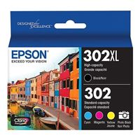 Epson 302 High Capacity Black and Standard Color Ink Cartridge 5-Pack
