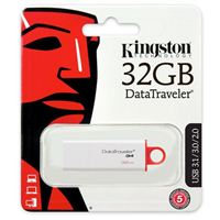 Kingston 32GB DataTraveler I G4 USB 3.1 Flash Drive - White/Red