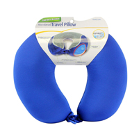 Cloudz Memory Foam Cool Gel & Bamboo Travel Neck Pillow - Blue