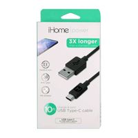 iHome USB 2.0 (Type-C) Male to USB 2.0 (Type-A) Male Charge/ Sync Cable 10 ft. - Black