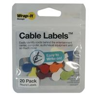Wrap-It Cable Labels 20 pack Round - Multi Color