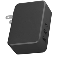 iHome 45 W 3 Port 1 x USB Type-C, 2 x USB Type-A Wall Charger w/ 6 ft. Braided USB Type-C Cable - Black