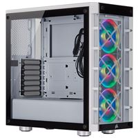 Corsair iCUE 465X RGB Tempered Glass ATX Mid-Tower Computer Case - White