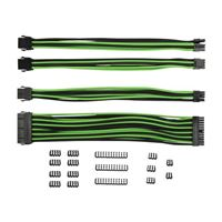 Inland PSU Sleeved Cable Extension Kit - Black/ Green