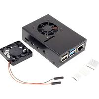 Micro Connectors Aluminum Case with Fan for Raspberry Pi 4 - Black