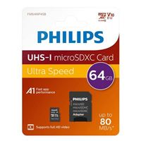 Philips 64GB microSDXC Class 10/ UHS-1/ V10 Flash Memory Card with Adapter