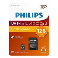 Philips 128GB microSDXC Class 10/ UHS-1/ V10 Flash Memory Card with Adapter