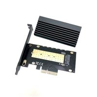 Micro Connectors M.2 NVMe 80mm SSD PCIe x4 Adapter with Covered Heat Sink