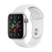 Apple Watch Series 5 GPS 40mm Silver Aluminum Smartwatch - White Sport Band