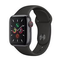 Apple Watch Series 5 GPS 40mm Space Gray Aluminum Smartwatch - Black Sport Band