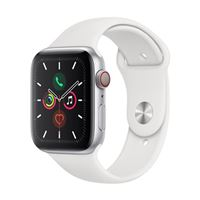Apple Watch Series 5 GPS 44mm Silver Aluminum Smartwatch - White Sport Band