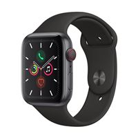 Apple Watch Series 5 GPS/Cellular 44mm Space Gray Aluminum Smartwatch - Black Sport Band