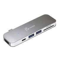 j5create USB-C 7-in-1 UltraDrive Mini Dock 2 USB Type-A Ports | HDMI 4K @ 30 Hz | microSD & SD Slots | Compatible with USB C Devices