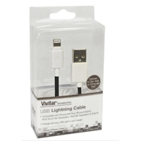 Vivitar Lightning Male to USB 2.0 (Type-A) Male Apple MFi Certified Charge/ Sync Cable 3 ft. Cable - Black/ White