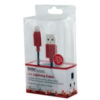 Vivitar Lightning Male to USB 2.0 (Type-A) Male Apple MFi Certified Charge/ Sync Cable 3 ft. - Blue/ Red