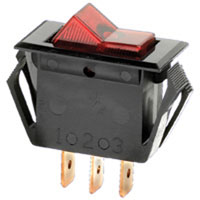 NTE Electronics Switch Rocker Illuminated Miniature Snap-in SPST
