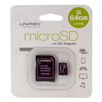 Unirex 64GB MicroSD with SD Adapter