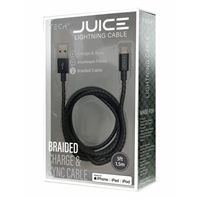 BayIt Home Automation Metallic Braided Charge & Sync Lightning to USB Cables 5 Foot - Black