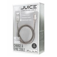 BayIt Home Automation Metal Charge & Sync Lightning to USB Cable 4 Foot - Silver