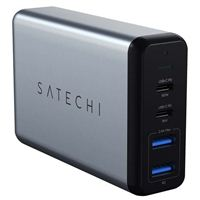Satechi 75W Dual Type-C Power Deliver Travel Charger w/ 2 Additional USB Type-A Charging Ports - Silver