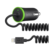 Belkin 2.4 A Car Charger w/ Attached Coiled Lightning Cable - Black