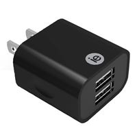 iEssentials 2.4 Amp Dual USB Type-A Wall Charger - Black