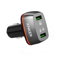 Anker PowerDrive+ 42 W Dual USB Type-A Car Charger w/ Quick Charge 3.0 and Power IQ - Black