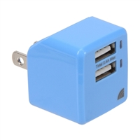 Inland 3.4A/5V 2 USB Type-A Port Wall Charger - Blue