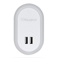 Aluratek LED Nightlight with Dual USB Charging Ports
