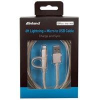Inland Lightning + Micro-USB Male to USB Type-A Male 2 in 1 Cable 6 ft. Cable - Gold
