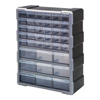 Quantum Storage Systems PDC-39BK Clear Plastic Drawer Cabinet - 39 Drawers
