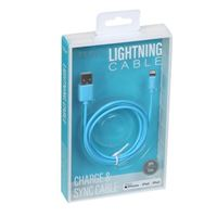 BayIt Home Automation Neon Lightning Male to USB 2.0 (Type-A) Male Charge/ Sync Cable 3 ft. - Blue