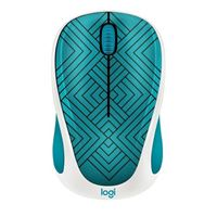 Logitech Design Collection Wireless Optical Mouse - Teal Maze