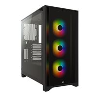 Corsair iCUE 4000X RGB Tempered Glass ATX Mid-Tower Computer Case - Black