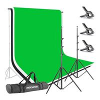 Neewer 8.5 x 10 ft Background Stand Support System with 6 x 9 ft Blackdrop (White, Black, Green)