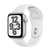 Apple Watch Series SE GPS 40mm Silver Aluminum Smartwatch - White Sport Band