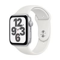 Apple Watch Series SE GPS 44mm Silver Aluminum Smartwatch - White Sport Band