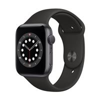 Apple Watch Series 6 GPS 44mm Space Gray Aluminum Smartwatch - Black Sport Band