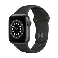 Apple Watch Series 6 GPS 40mm Space Gray Aluminum Smartwatch - Black Sport Band
