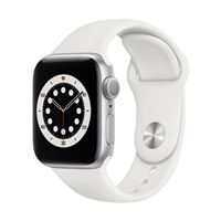 Apple Watch Series 6 GPS 40mm Silver Aluminum Smartwatch - White Sport Band