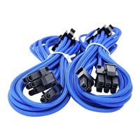 Micro Connectors 2-Pack Premium Sleeved 8 (6+2) Pin PCI-e GPU Power Extension Cable Blue - 45cm (1.5ft)
