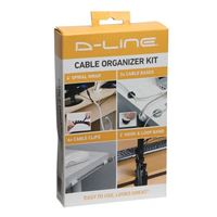 D-Line Cable Organizer Kit incl. Wrap, Clips, Bands & Bases - White