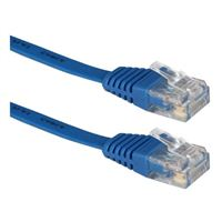 QVS CC715F-50BL 50 ft. Flat CAT6 Gigabit Flexible Molded Blue Patch Cord