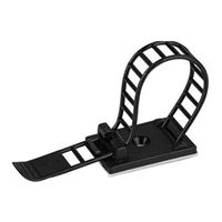 NTE Electronics Ladder Adjustable Cable Clamp 3.54 Inch Black Nylon with Adhesive Base 10/bag