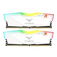 TeamGroup T-FORCE Delta RGB 32GB (2 x 16GB) DDR4-3200 PC4-25600 CL16 Dual Channel Desktop Memory Kit TF4D432G3200HC1 - White