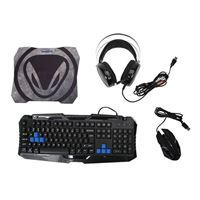 Snakebyte Keyboard and Mouse Combo with Headset, Backlit Keyboard, Wired Gaming Mouse, Lighted Gaming Headset with Microphone Set, 50mm Speaker Driver + Mouse Pad for PC Games